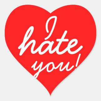 Pegatina En Forma De Corazón ¡Le odio los pegatinas!