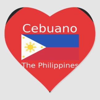 Pegatina En Forma De Corazón Lengua de Cebuano y bandera de Filipinas