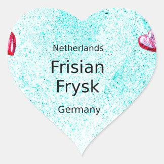 Pegatina En Forma De Corazón Lengua del Frisian (Alemania y Países Bajos)