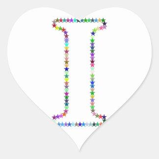Pegatina En Forma De Corazón Letra I de la estrella del arco iris