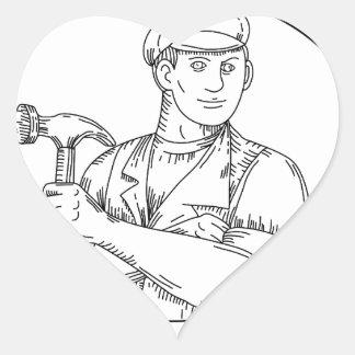 Pegatina En Forma De Corazón Línea del martillo del carpintero del vintage mono