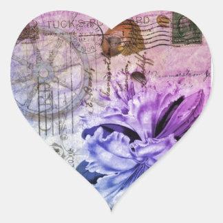 Pegatina En Forma De Corazón lirio púrpura elegante lamentable de los seashells