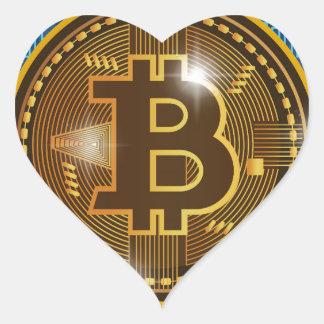 Pegatina En Forma De Corazón Logotipo de Bitcoin y diseño frescos del gráfico