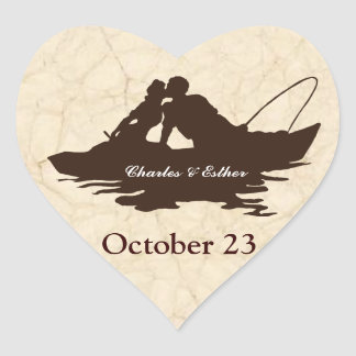Pegatina En Forma De Corazón Los amantes de la pesca del vintage de Brown