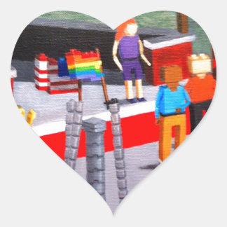 Pegatina En Forma De Corazón Los E.E.U.U. y banderas del orgullo hechas de