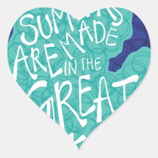 Pegatina En Forma De Corazón Los veranos se hacen en los Great Lakes - azul