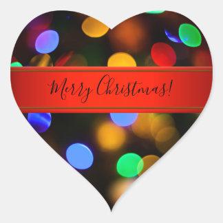 Pegatina En Forma De Corazón Luces de navidad multicoloras. Añada el texto o