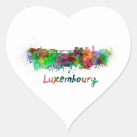 Pegatina En Forma De Corazón Luxembourg skyline in watercolor