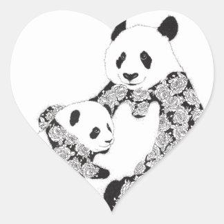 Pegatina En Forma De Corazón Madre y bebé Cub de la panda