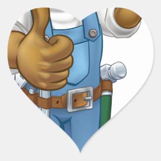 Pegatina En Forma De Corazón Manitas del mecánico o del fontanero con la llave