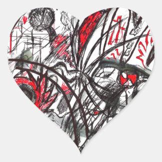 Pegatina En Forma De Corazón Manos del dibujo de la pluma de la rabia