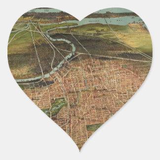 Pegatina En Forma De Corazón Mapa de Newark 1916
