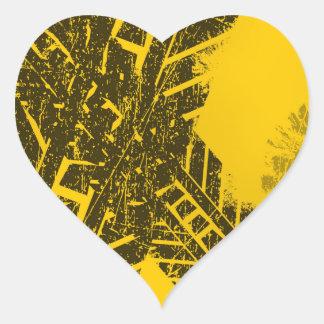 Pegatina En Forma De Corazón Marca de camino negra apenada Grunge de la pista