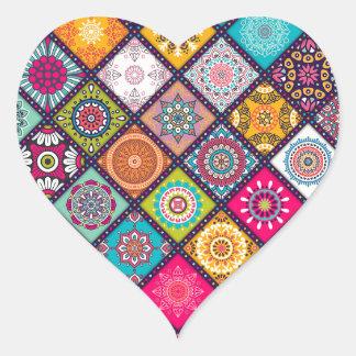 Pegatina En Forma De Corazón Marroquí colorido del modelo de la mandala