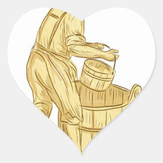 Pegatina En Forma De Corazón Miller medieval con el dibujo del cubo
