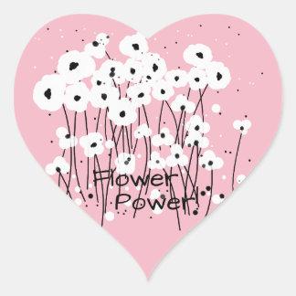 "Pegatina En Forma De Corazón MODA STICKER_ "" flower power!"" POPPIES_DIY BLANCO"