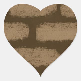 Pegatina En Forma De Corazón Modelo de los ladrillos de Brown