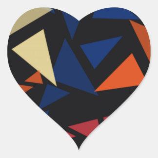Pegatina En Forma De Corazón Modelo geométrico colorido