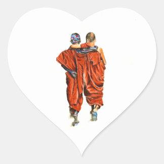 Pegatina En Forma De Corazón Monjes budistas