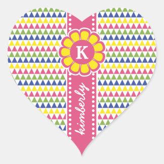 Pegatina En Forma De Corazón Monograma geométrico colorido de la cinta de la