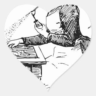 Pegatina En Forma De Corazón Mujer que usa el aerógrafo viejo