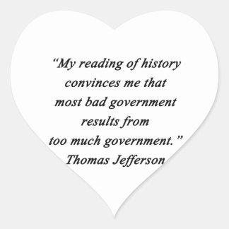 Pegatina En Forma De Corazón Mún gobierno - Thomas Jefferson