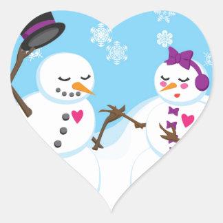 Pegatina En Forma De Corazón Muñeco de nieve y romance de Snowgirl