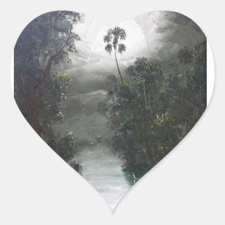 Pegatina En Forma De Corazón Musgo brumoso del río de la Florida