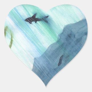 Pegatina En Forma De Corazón Natación del tiburón