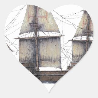 Pegatina En Forma De Corazón Nave de oro de 1578 Hinde