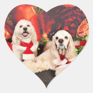 Pegatina En Forma De Corazón Navidad - cocker - Toby, Havanese - poco T