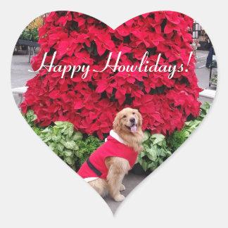 Pegatina En Forma De Corazón Navidad del golden retriever
