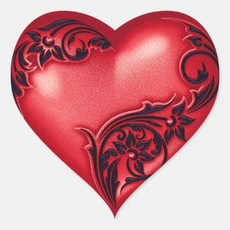 Pegatina En Forma De Corazón Negro rojo de la voluta w del corazón