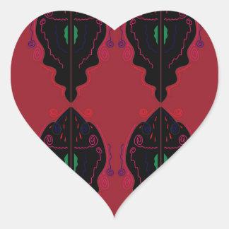 Pegatina En Forma De Corazón Negro rojo de los ornamentos de lujo