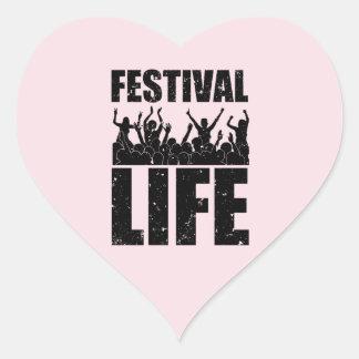 Pegatina En Forma De Corazón Nueva VIDA del FESTIVAL (negro)