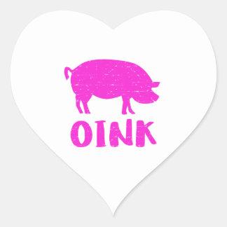 Pegatina En Forma De Corazón Oink cerdo