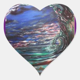 Pegatina En Forma De Corazón onda de la playa