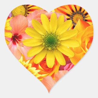 Pegatina En Forma De Corazón Orange flowers_ Gloria Sanchez
