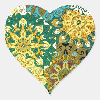 Pegatina En Forma De Corazón Oriente la mandala azul y amarillee el adorno