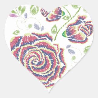 Pegatina En Forma De Corazón Ornamento color de rosa púrpura del bordado