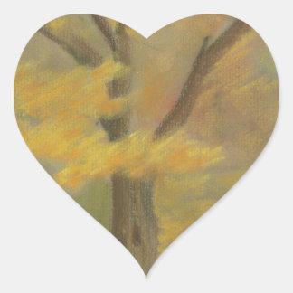 Pegatina En Forma De Corazón Oro del otoño