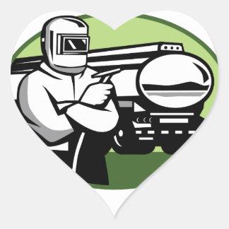 Pegatina En Forma De Corazón Óvalo del camión de petrolero del soldador del Tig