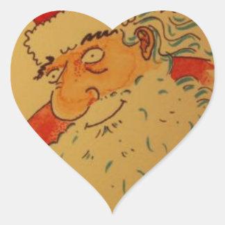 Pegatina En Forma De Corazón Papá Noel
