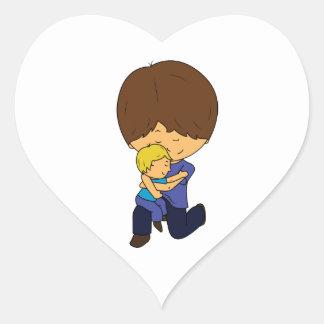 Pegatina En Forma De Corazón Papá y hijo Chibis