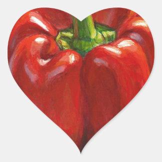 Pegatina En Forma De Corazón Paprika Rojo
