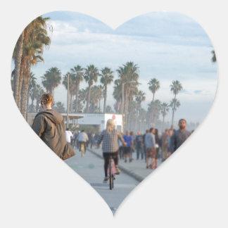 Pegatina En Forma De Corazón patinaje a la playa de Venecia