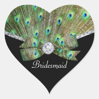 Pegatina En Forma De Corazón Pavo real elegante y boda de diamantes
