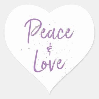 Pegatina En Forma De Corazón Paz-y-Amor-Púrpura