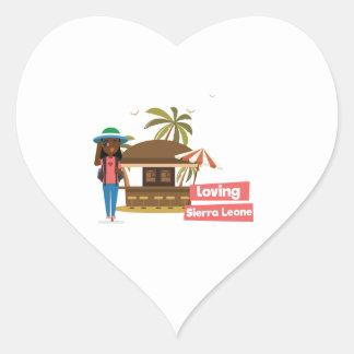 Pegatina En Forma De Corazón Pegatinas cariñosos del corazón del Sierra Leone