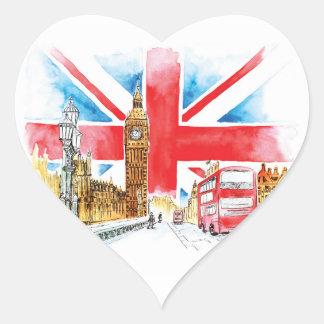 Pegatina En Forma De Corazón Pegatinas del corazón de Londres Big Ben,